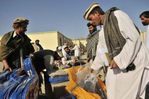 Locals distributing blankets and jackets in prepar